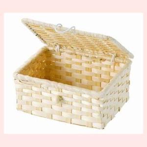 『竹』蓋付き四角タイプ小物入れ「14.5×11×6.5cm」10Pセット/ナチュラル|sshana