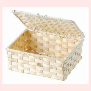 『竹』蓋付き四角タイプ小物入れ「18×14×7cm」10Pセット/ナチュラル|sshana