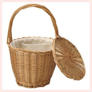 『煮柳』蓋・布付きバスケットバッグ「21×19cm」|sshana