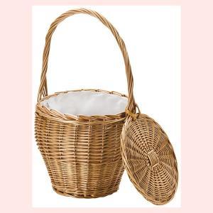 『煮柳』蓋・布付きバスケットバッグ「23×25cm」|sshana