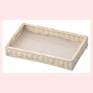 『ラタン』陳列用足付き四角タイプトレー「30×20×5cm」(麻ナプキン付き/白)|sshana