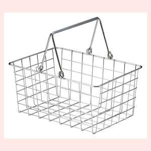 『ワイヤー』四角タイプかごバスケット「26×18×12cm」(片手持ち)|sshana