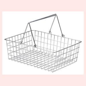 『ワイヤー』四角タイプかごバスケット「36×26×12cm」(片手持ち)|sshana