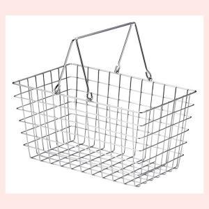 『ワイヤー』四角タイプかごバスケット「30×18×15.5cm」(片手持ち)|sshana