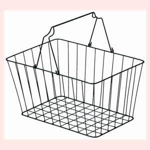 『ワイヤー』四角タイプバスケット「42×30×22cm」(片手持ち)|sshana