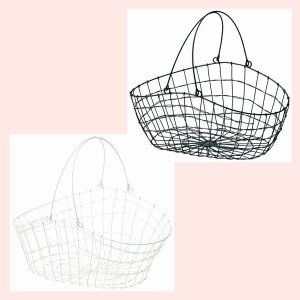 『ワイヤー』楕円タイプバスケット「36.5×23×16.5cm」(片手持ち)/2種類|sshana