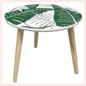 木製ミニテーブル(リーフ柄)|sshana