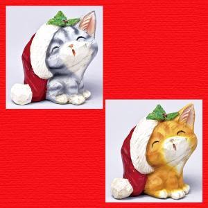 『クリスマス』レジン製カービングキャット(スマイル)/2種類|sshana
