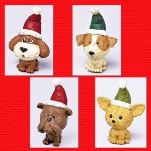 『クリスマス』レジン製カービングドッグ/4種類|sshana
