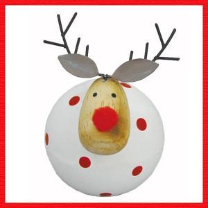 『クリスマス』木製ドットディア(ホワイト)|sshana