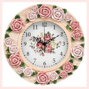 エレガントなローズデザインの壁掛け時計(クリスタル付)/パステルピンク|sshana