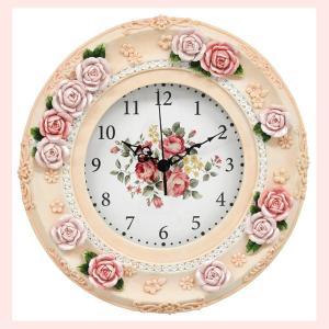 エレガントなローズデザインの壁掛け時計/パステルピンク|sshana