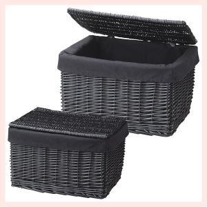 『黒柳』蓋・布付き四角タイプの収納ボックス2Pセット|sshana