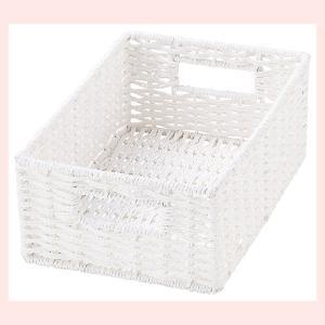 『ペーパー』四角タイプ収納ボックス「18×26×10cm」(ツイスト)/ホワイト|sshana