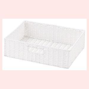 『ペーパー』四角タイプ収納ボックス「36×26×10cm」(ツイスト)/ホワイト|sshana