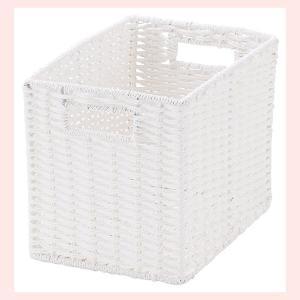 『ペーパー』四角タイプ収納ボックス「18×26×20cm」(ツイスト)/ホワイト|sshana