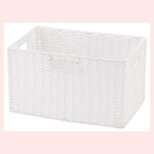 『ペーパー』四角タイプ収納ボックス「36×26×20cm」(ツイスト)/ホワイト|sshana