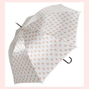 ローズデザインのジャンプ傘(サテン生地)/ホワイト sshana