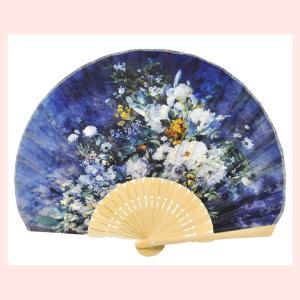 世界の名画シェル型扇子/白竹(ルノワール/ホワイトフラワー) sshana