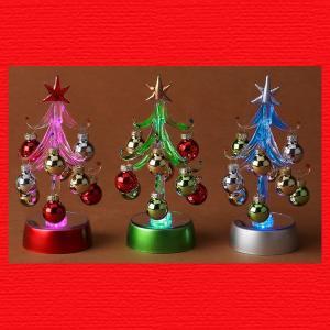 『クリスマス』RGB・LEDライトのガラスボールツリー(S)/3種類|sshana