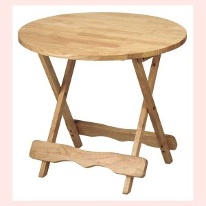 『ラバーウッド』折りたたみ式テーブル(丸B)|sshana