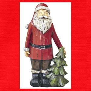 『クリスマス』レジン製木彫り風サンタ(M)|sshana