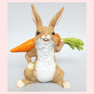 レジン製ウサギのミニオブジェ(キャロットショルダー)|sshana