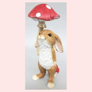 レジン製ウサギのミニオブジェ(マッシュルームアンブレラ)|sshana