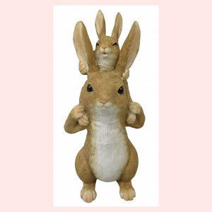 レジン製ウサギのミニオブジェ(おんぶ)|sshana