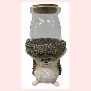 レジン製ハリネズミのミニオブジェ(ガラスボトル)|sshana