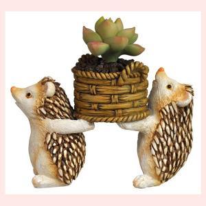 レジン製の生き物ミニオブジェ(ハリネズミ/多肉植物で模様替え)|sshana
