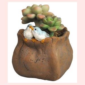 レジン製の生き物ミニオブジェ(バード/多肉植物の下でおしゃべり)|sshana