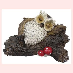 レジン製フクロウの置物(LOG/居眠り)|sshana