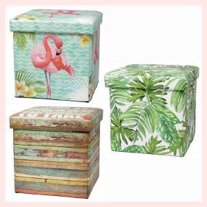 素敵な絵柄の折りたたみ式スツールボックス(バラエティ)/3種類 sshana