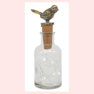 アンティーク調なシャビーLEDガラスボトルライト/小鳥|sshana
