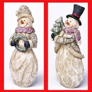 『クリスマス』レジン製木彫スタイルのスノーマン/2種類|sshana