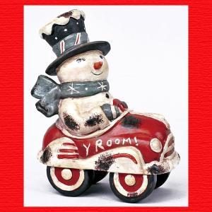 『クリスマス』陶器製レトロ調スノーマン(ペダルカー)|sshana