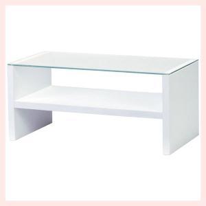 ガラステーブル(90×45×41.5cm)/ホワイト|sshana