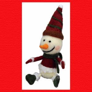 『クリスマス』ウールのマスコット(シッティング)/スノーマン|sshana