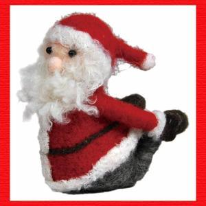 『クリスマス』ウールのマスコット(ヨガサンタ)/弓のポーズ|sshana