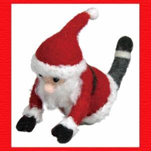 『クリスマス』ウールのマスコット(ヨガサンタ)/猫のポーズ|sshana