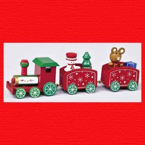 『クリスマス』木製トレイン(3連)スノー|sshana