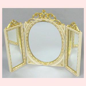 イタリア製の三面鏡/アイボリー|sshana