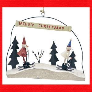 『クリスマス』ブリキ製サンタとスノーマンのインテリアオブジェ(スキー)|sshana