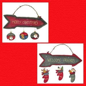 『クリスマス』木製アロー型サインボード/2種類|sshana