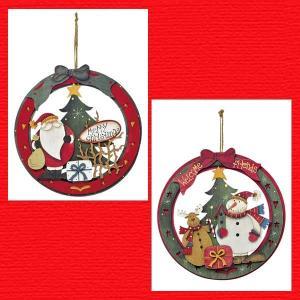 『クリスマス』木製デコリース/2種類|sshana