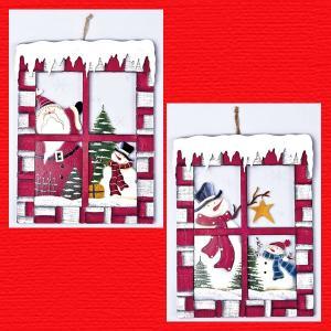 『クリスマス』木製ガラスウィンドウ/2種類|sshana