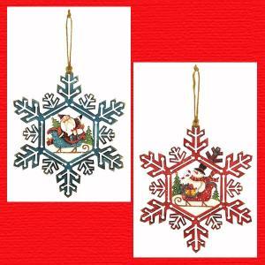 『クリスマス』木製スノーフレークウォールデコ/2種類|sshana