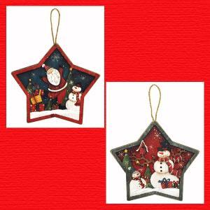 『クリスマス』木製星型ウォールデコ/2種類|sshana