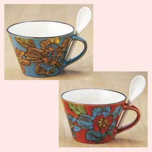 ストーンウェア製フラワー柄のスープマグカップ/2種類|sshana